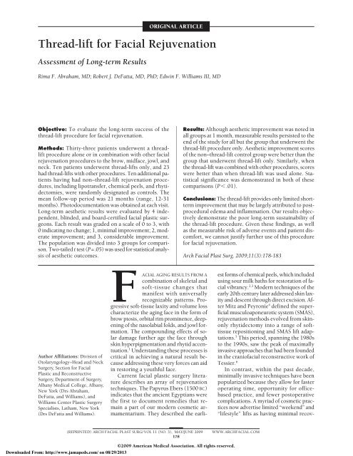Thread-lift for Facial Rejuvenation