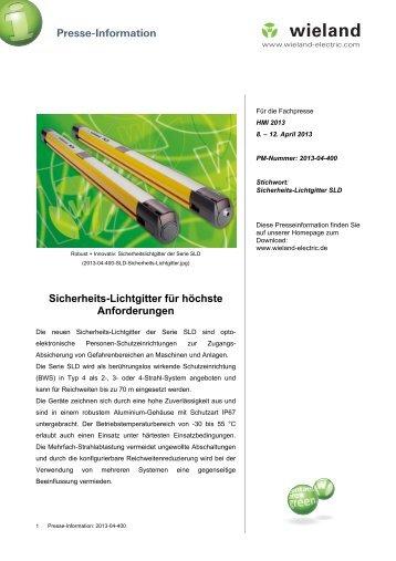 PR-Text Sicherheitslichtgitter SLD - Wieland Electric