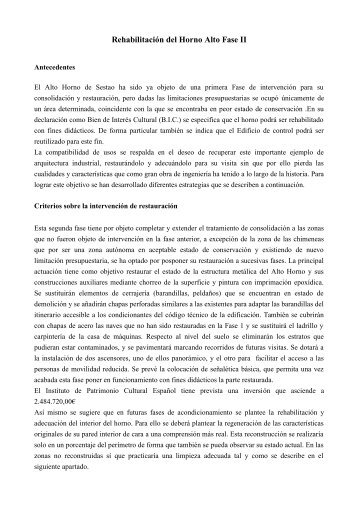 Rehabilitación del Horno Alto Fase II (PDF 7KB)