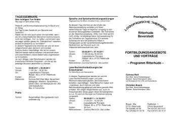 Angebote der Praxis Ritterhude - Sprachheiltherapie Ritterhude