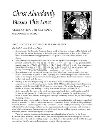 Christ Abundantly Blesses This Love - Federation of Diocesan ...