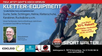 neu! jetzt geht's hoch hinaus! kletter-equipment - Sport  Walter