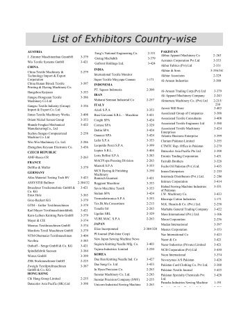 List of Exhibitors Country-wise - Pakistan Textile Journal