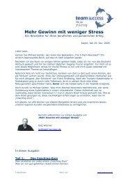 Mehr Gewinn mit weniger Stress - PDF - team success Coaching KG