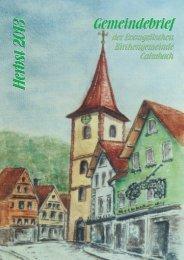 Herbst 2013 DRUCK - Evangelische Kirchengemeinde Calmbach