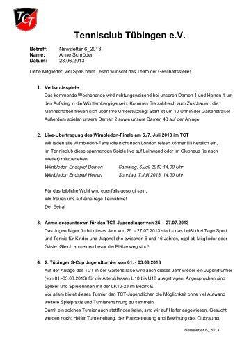 Newsletter 6/2013 - TC Tübingen