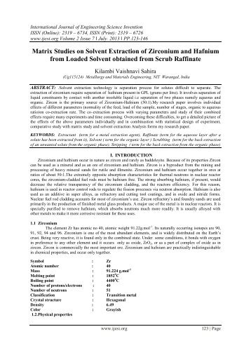 Matrix Studies on Solvent Extraction of Zirconium and Hafnium ... - ijesi