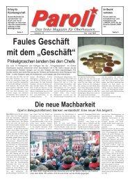 Paroli - Das Linke Magazin für Oberhausen Ausgabe: Mai 2009