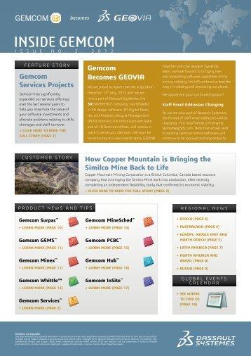 Inside Gemcom   Issue 3: 2012 - Gemcom Software International Inc.
