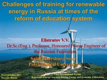 Challenges of training for renewable energy in ... - REENFOR–2013