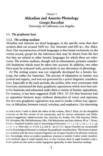 Akkadian and Amorite Phonology