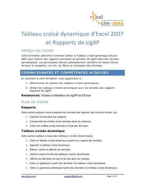 Tableau croisé dynamique d'Excel 2007 et Rapports de sigXP - Keal