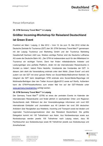 Größter Incoming-Workshop für Reiseland Deutschland ist Green