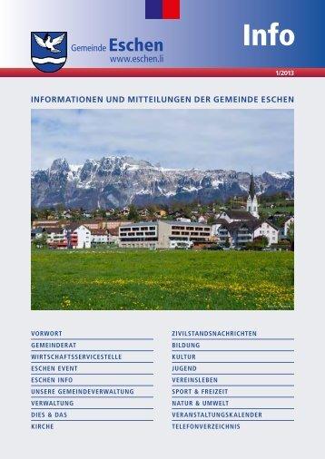 Aktuelle Ausgabe Eschen Info 1/2013 (PDF) - Gemeinde Eschen