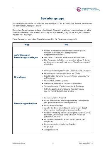 interessantes bewerbungstipps 05 09 pdf _2 estet personal - Www Bewerbung Tipps Com