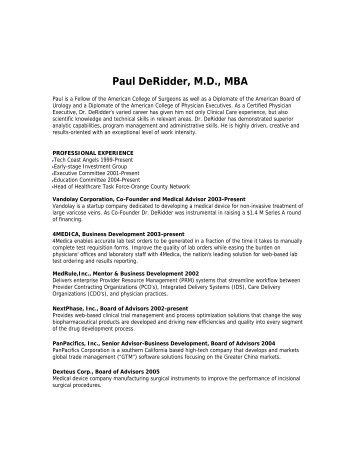 Paul DeRidder, M.D., MBA