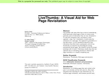LiveThumbs: A Visual Aid for Web Page Revisitation