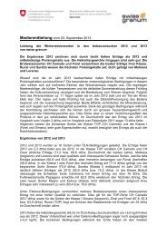 Medienmitteilung vom 03. September 2013 - Swiss granum