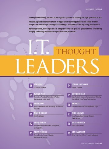 Inbound Logistics | I.T. Thought Leaders 2012 | Digital Edition