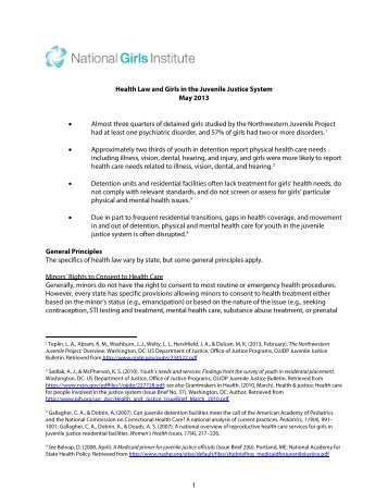 1 Health Law and Girls in the Juvenile Justice System May 2013 ...