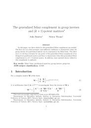 The generalized Schur complement in group inverses and (k ... - UPV