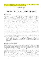 die feier des christlichen mysteriums - Gemeinschaft vom heiligen ...