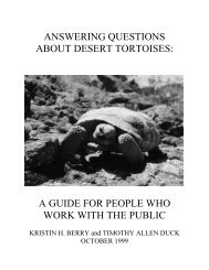 Answering Questions About Desert Tortoises - Desert Managers ...