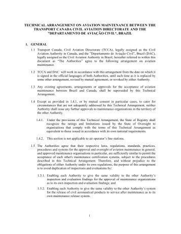 technical arrangement on aviation maintenance - Anac