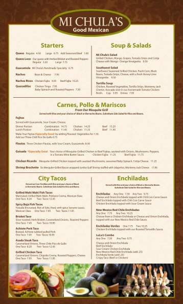 Mi Chulas Southlake To Go Menu.indd - Mi Chula's Good Mexican