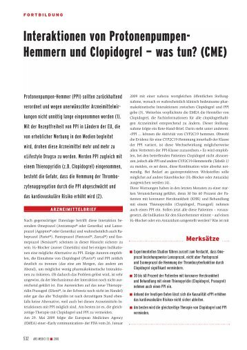 Interaktionen von Protonenpumpen- Hemmern und Clopidogrel ...