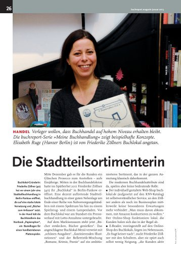 15.01.2013, buchreport magazin, Frederike Zöllner über ... - Buy Local