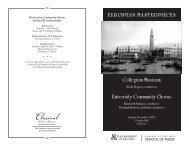 Collegium Musicum University Community Chorus ... - School of Music