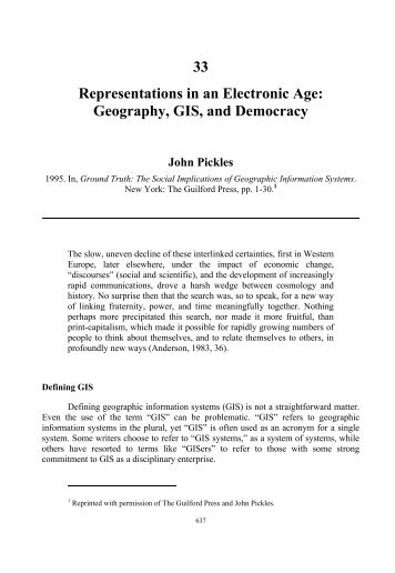 Geography, GIS, and Democracy - College of Humanities and Social ...