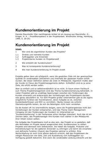 Kundenorientierung im Projekt Kundenorientierung ... - bei Consensa