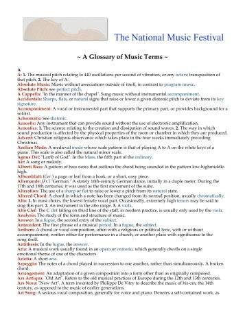 Download a Glossary of Musical Terms - National Music Festival