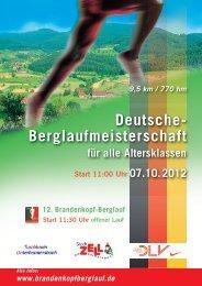 Ausschreibung Deutsche Berglauf-Meisterschaften 2012