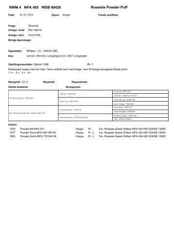 Roseisle Powder Puff NWM 4 NPA 405 WSB 40426
