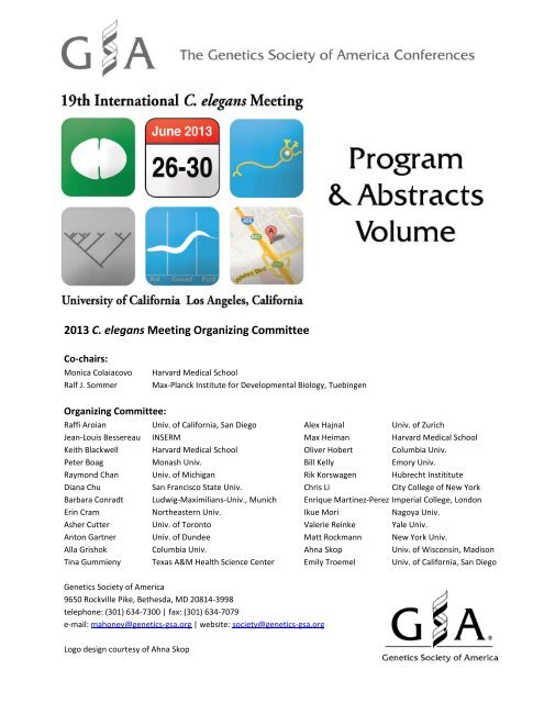 foto de Program and Abstract Book - 19th International C. elegans Meeting
