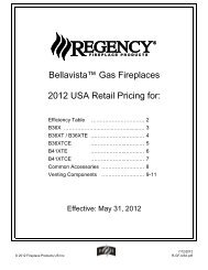 Bellavista™ Gas Fireplaces 2012 USA Retail Pricing for: