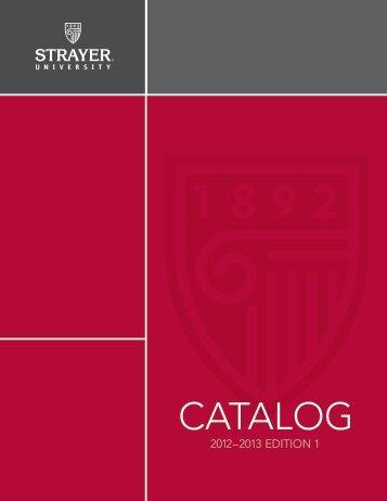 2013 Catalog - Strayer University