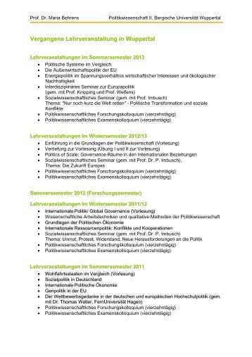 Vergangene Lehrveranstaltung in Wuppertal - Politikwissenschaft