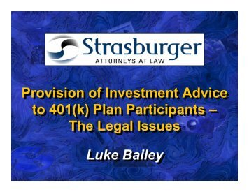 Provision of Investment Advice to 401(k) - Strasburger Price LLP