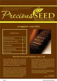 E-Magazine - June 2013 - Precious Seed