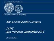 Non Communicable Diseases AKME Bad Homburg September 2011