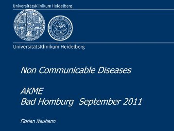 Non Communicable Diseases AKME Bad Homburg September 2011