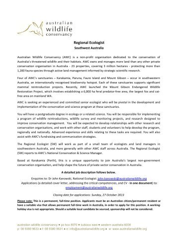 Regional Ecologist - Australian Wildlife Conservancy