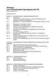 Anhang L zum Internationalen Sportgesetz der FIA - RENNARZT.DE