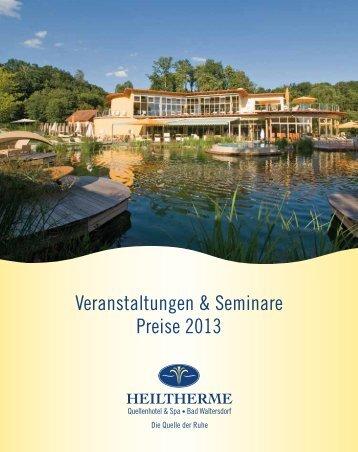 Veranstaltungen & Seminare Preise 2013 - Heiltherme