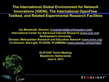 International GENI project - GLIF