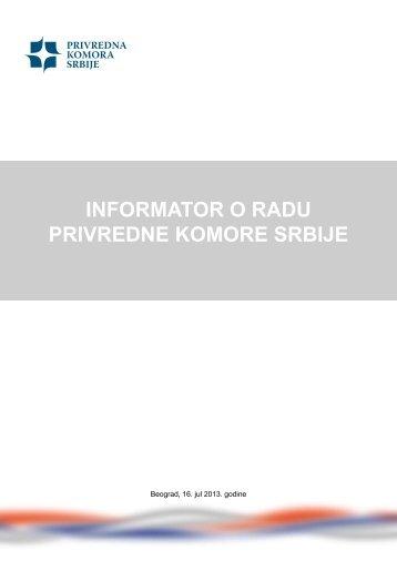 INFORMATOR O RADU PRIVREDNE KOMORE SRBIJE - Privredna ...